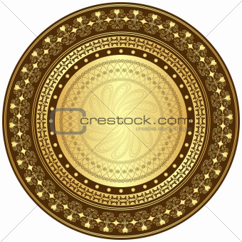 Gold and brown round frame