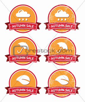 Autumn sale retro orange and red labels - grunge style