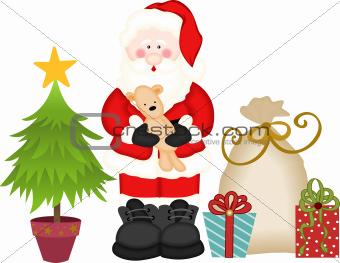Santa Claus gift bag and pine