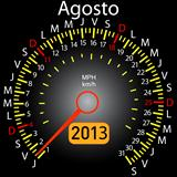 2013 year calendar speedometer car in Spanish. August