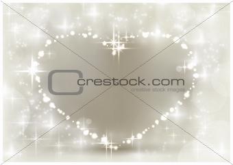 Silver sparkling Christmas heart