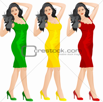 Beautiful woman in red yellow and green dress