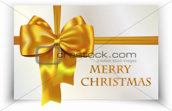 Golden/yellow bow on Merry Christmas card