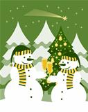 snowmen with glasses of champagne