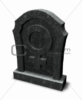 female symbol on gravestone