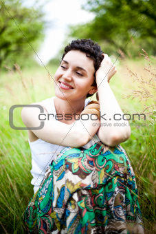 cute girl on fresh grass