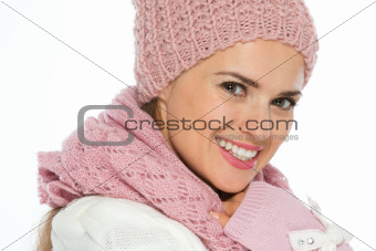 Portrait of happy young woman in knit winter clothing