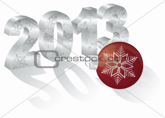 2013 New Year 3 Dimensional Numeral Ornament