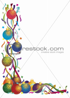 Christmas Ornaments with Ribbons and Confetti