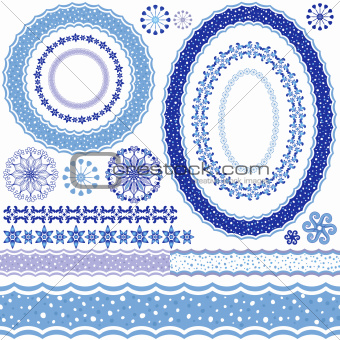 White-blue decorative frame and patterns