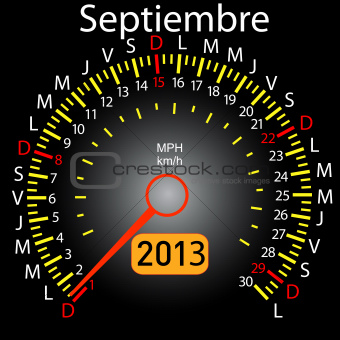 2013 year calendar speedometer car in Spanish. September