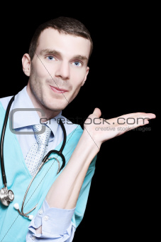 Doctor With An Empty Palm For Product Placement