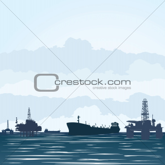 Oil derricks and tankers