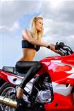 pretty blond on a motorcycle