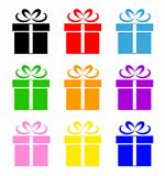 Colorful gift box symbol set