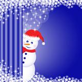 Snowman behind curtain
