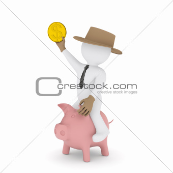 Businessman cowboy riding on piggy bank