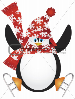 Penguin with Santa Hat Ice Skating Illustration