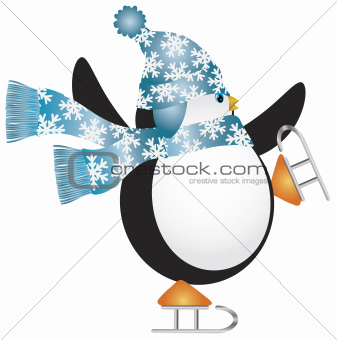 Penguin with Blue Hat Ice Skating Illustration