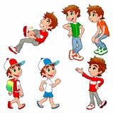 Boy in different poses and expressions