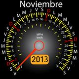 2013 year calendar speedometer car in Spanish. November