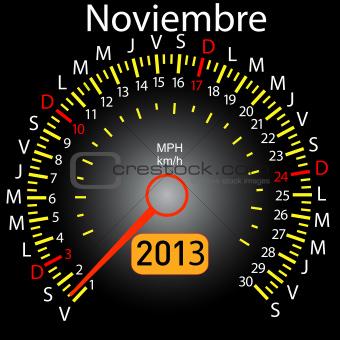 2013 year calendar speedometer car in Spanish. November