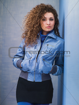 girl in blue jacket