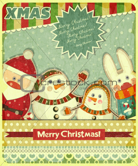 Retro design of Christmas card