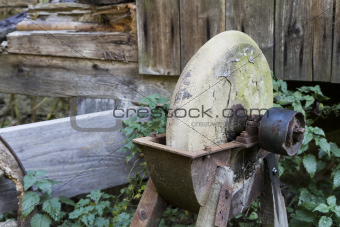 old, used grinding stone