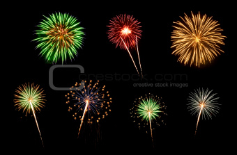 Assorted Fireworks on a Black Background