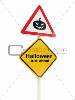 Halloween just ahead road sign