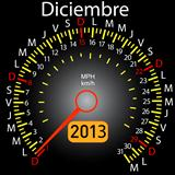 2013 year calendar speedometer car in Spanish. December