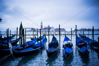 Gondolas at St Marco Square in Venice, Italy