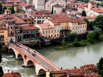 Ponte Pietra in Verona from above. Italy