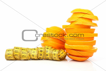 slices of orange and meter