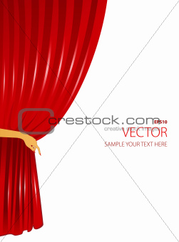 Red curtain with woman hand