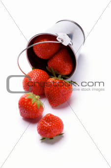 Strawberries Spilled from Bucket