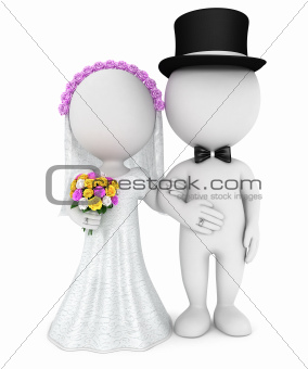 3d white people just married couple