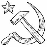Communist hammer and sickle sketch