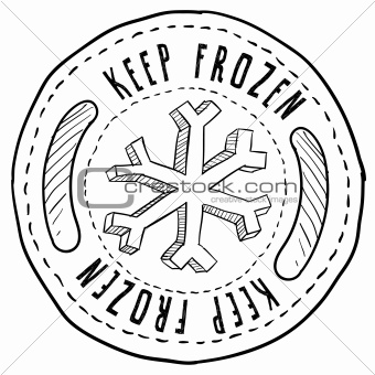 Keep frozen food label sketch