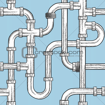 Seamless water pipe vector background