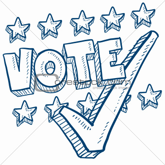Vote with check mark sketch