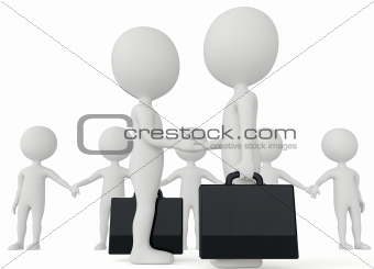 3d humanoid two businessman character with a briefcase