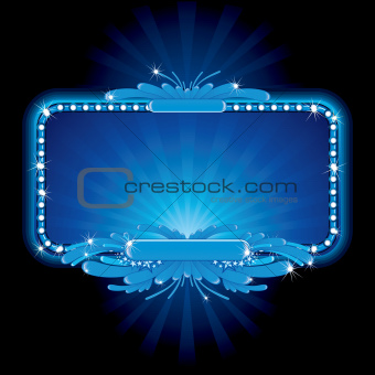 Blue neon sign