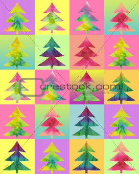 batik christmas tree color background