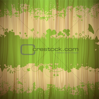 Green background over wood