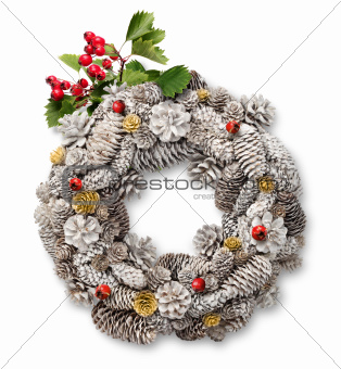 Christmas door wreath with hawthorn