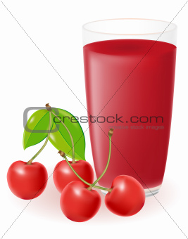 cherry juice vector illustration