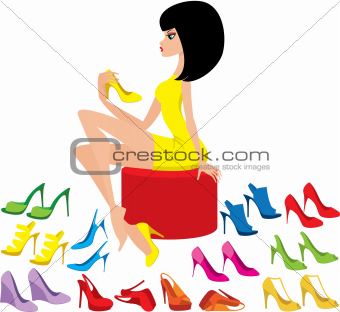 Young woman tries on shoes