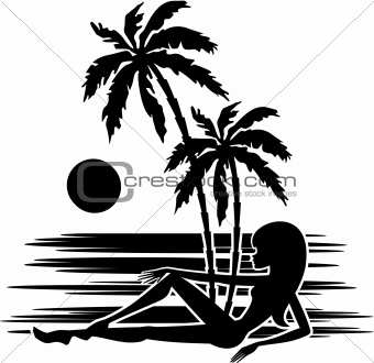 Tropics. A palm trees and woman silhouette on a white background